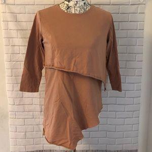 ASOS maternity nursing shirt top brown pink